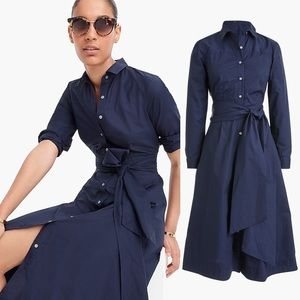 J. Crew Tie Waist Shirtdress in Blue